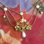 Vintage Opal Enamel Necklace Circa 1950's Natural Opal Festoon Necklace 15 inches 10k Gold