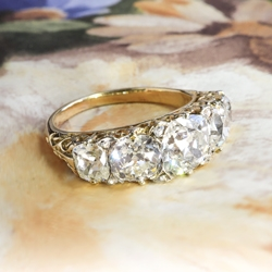 Antique Diamond Anniversary Band 3.59ct t.w. Circa 1890's Old Mine Cushion Cut Rose Cut Diamond Filigree Ring 18k Yellow Gold