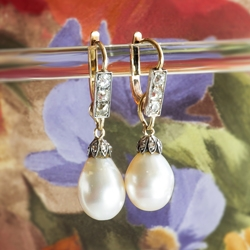 Antique Pearl Diamond Earrings Circa 1860's Victorian GIA Certified Natural Pearl & Old Cut Diamond Drop Earrings