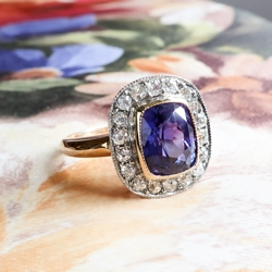 Precious 3ct t.w. Purple Sapphire & Old European Cut Diamond Halo Engagement Anniversary Ring 18k Rose Gold Platinum