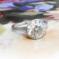 Antique Diamond Engagement Solitaire Ring 2.25cts Old European Cut Diamond Anniversary Wedding Ring Platinum