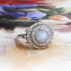 Vintage Star Sapphire Ring 1.85ct t.w. Circa 1925 Double Diamond Engagement Cocktail Birthstone Anniversary Platinum Ring