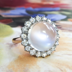 Vintage Moonstone Diamond Ring 6.90ct t.w. Old European Cut Diamond Halo 18k Rose Gold Platinum Engagement Unique Ring