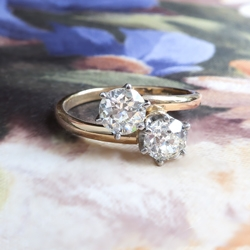 Vintage Toi Et Moi Double Diamond Ring 1ct t.w. Old European Cut Bypass Engagement Anniversary Ring 18k Yellow Gold Platinum