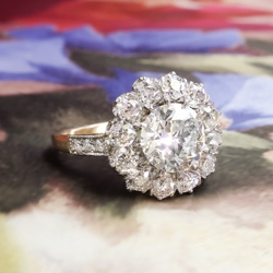 Art Deco Engagement Ring Circa 1930's 1.98ct t.w. Old European Cut Diamond Double Halo Ring 18k Gold Platinum