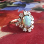 Vintage Opal Diamond Ring Circa 1970's 3.08ct t.w. Solid Opal & Diamond Halo Birthstone Anniversary Engagement Ring 18k Gold