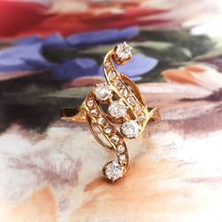 Antique Diamond Navette Ring Circa 1910 .73ct t.w. Old European Cut Rose Cut Diamond Cocktail Ring 18k Gold