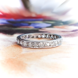 Art Deco Tiffany & Co. Diamond Eternity Wedding Band Circa 1930's Bead Set Platinum Stacking Ring Size 6.5
