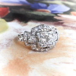 Art Deco Diamond Ring Circa 1930's 1.22ct t.w. Vintage Old Transitional Cut Diamond Engagement Wedding Anniversary Ring Platinum