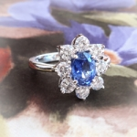 Estate Sapphire Diamond Ring Circa 1990's Blue Sapphire Diamond Halo Cocktail Birthstone Anniversary Engagement Ring 18k White Gold