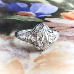 Vintage Art Deco Marquise Diamond Filigree Hand Engraved Engagement Anniversary Ring Platinum
