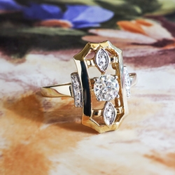 Art Deco Diamond Ring .40ct t.w. Old European Cut Diamond Ring 14k White and Yellow Gold