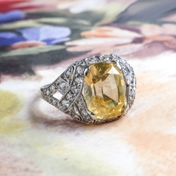 Singing 5.03ct t.w. Canary Yellow Sapphire & Diamond Edwardian Style Engagement Anniversary Platinum Ring