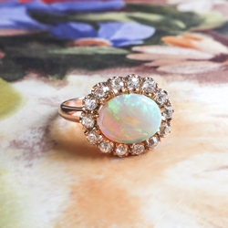 Natural Australian Crystal Opal & Old European Cut Diamond 1.74ct.tw Halo Ring 18k Rose Gold