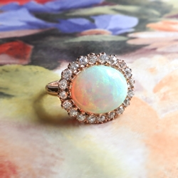 Colorful 3.65ct t.w. Natural Australian Crystal Opal & Old European Cut Diamond Halo Ring 18k Rose Gold