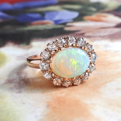Natural Australian Crystal Opal & Old European Cut Diamond 2.02ctw Halo Ring 18k Rose Gold