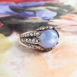 Antique Influenced Tulip 8.40ct t.w. Natural Lavender Blue Star Sapphire & Old European Cut Diamond Ring 18k Yellow Gold