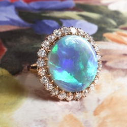 Harlequin 9.36ct t.w. Victorian Influenced Antique Black Opal & Diamond Halo 18k Rose Gold Ring
