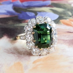 Gorgeous 7.95ct t.w. Emerald Cut Green Tourmaline & Old European Cut Diamond Halo Engagement Unique Ring 18k Yellow Gold Platinum