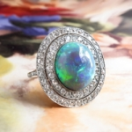 Sensational 6.31ct t.w. Natural Solid Australian Opal & Double Diamond Halo Milgrain Filigree Platinum Ring