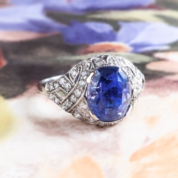 Gorgeous 3.90ct t.w. Deep Violet Blue Cushion Sapphire & Diamond Edwardian Style Engagement Anniversary Platinum Ring