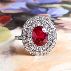 Antique Vintage Inspired 2.83ct t.w. Natural Oval Cushion Ruby & Double Diamond Halo Milgrain Filigree Platinum Ring