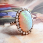Magnificent 5.94ct Natural Australian Solid Crystal Opal & 1ct t.w. Old European Cut Diamond Halo Rose Gold Ring 18k