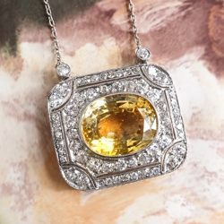 Beautiful 12ct Natural Yellow Sapphire & 2.10cts Old Single Cut Transitional Cut Diamond Necklace Platinum