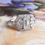 Elegant Emerald Cut Diamond Engagement Ring 1.53ct t.w. Platinum Anniversary Ring