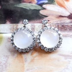 Majestic 8.64cts Moonstone & 1.40cts Old European Cut Diamond Drop Post Earrings 18k Gold Platinum