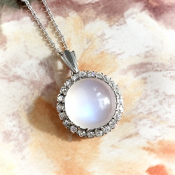 Majestic 7.43ct Moonstone & .70cts Old European Cut Diamond Pendant Necklace 18k Gold Platinum