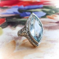 Art Deco Aquamarine Ring Circa 1930 S Vintage 3 30ct