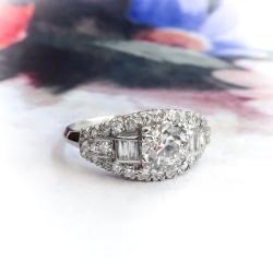 426fe4ed5d Vintage Diamond Engagement Ring 1940's 1.30ct t.w. Old European Baguette  Cut Anniversary Wedding Cocktail Antique