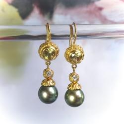 2e47c8c2d Estate Cultured Tahitian Pearl, Heliodor and Diamond Drop Earrings 18K