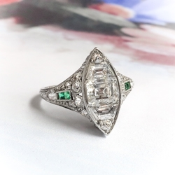 c7682a38e Art Deco Engagement Ring Vintage 1920's 2.22ct t.w. Green Emeralds Emerald  Cut Step Cut Trapezoid