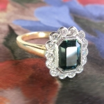 Gorgeous Deep Blue Green Tourmaline & Diamond Halo Ring 14k