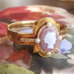 Antique Art Nouveau 1900's Greek Goddess Carnelian Cameo Rose Cut Diamond Pearl Hinged Bangle Cuff Bracelet 15k Yellow Gold