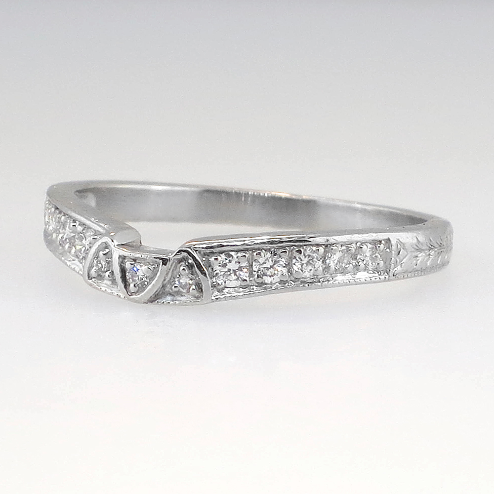 Estate Curved Diamond Platinum Engraved Wedding Band Antique Estate J