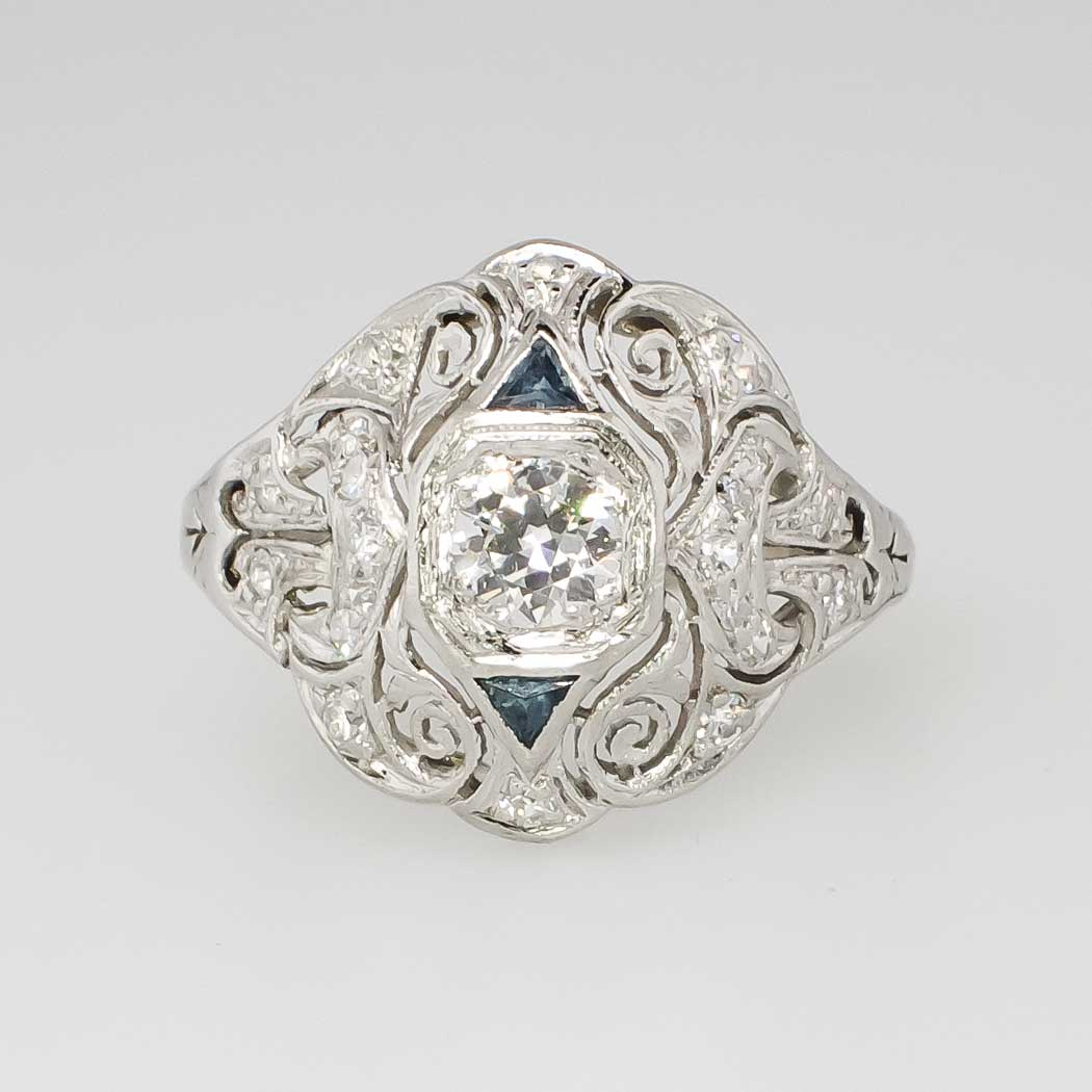 Intricate 1930 s 60ct t w Art Deco Old European Cut Diamond & Sapph