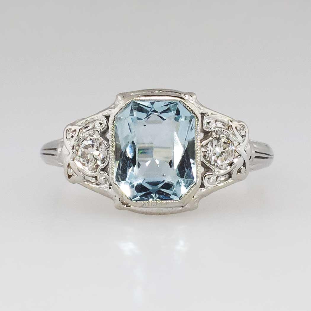Pretty Art Deco 1 36ct T W Fancy Cut Aquamarine Amp Diamond