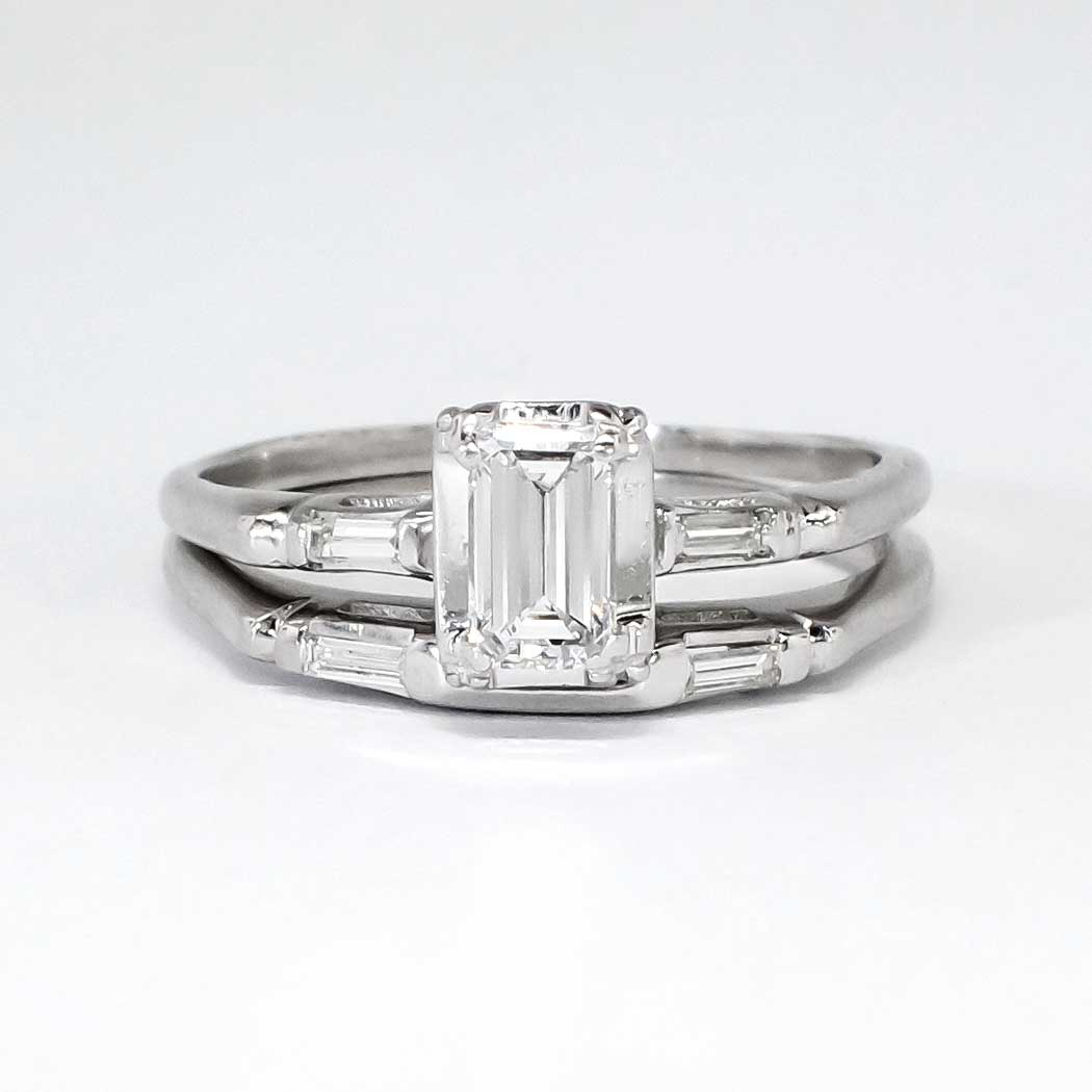Emerald Cut Engagement Ring And Wedding Band