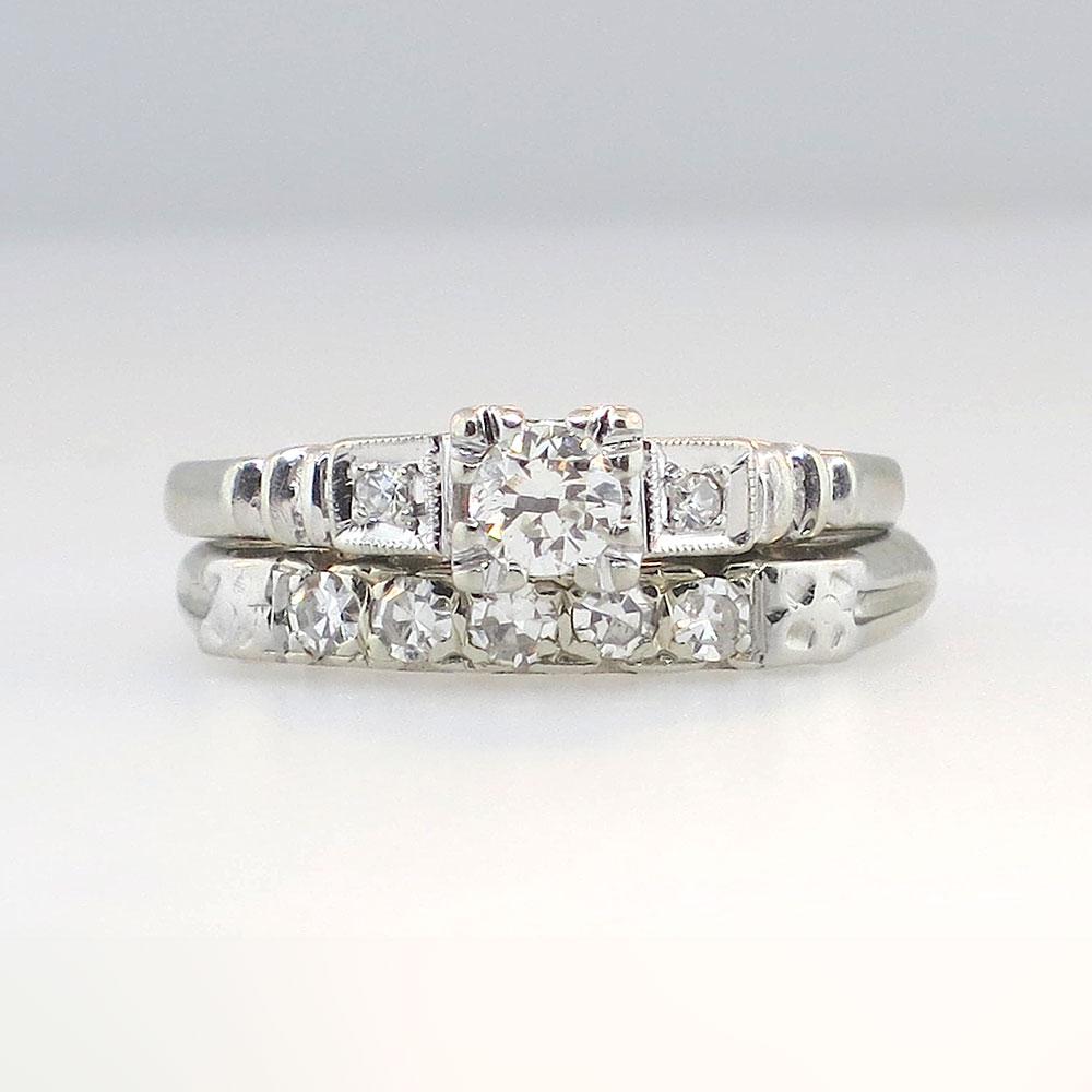 Petite Art Deco Diamond Engagement Wedding Band Set 14k
