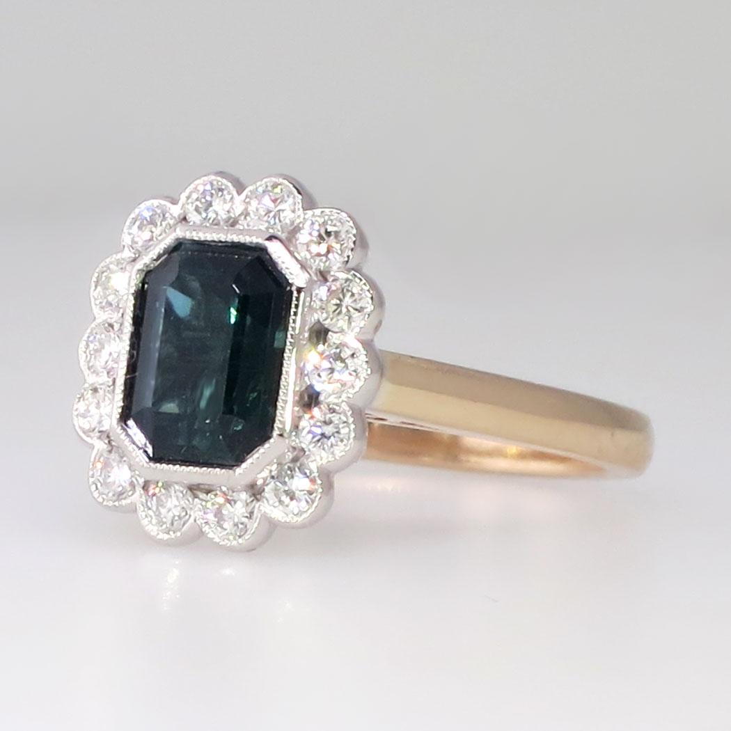 Gorgeous Deep Blue Green Tourmaline Amp Diamond Halo Ring