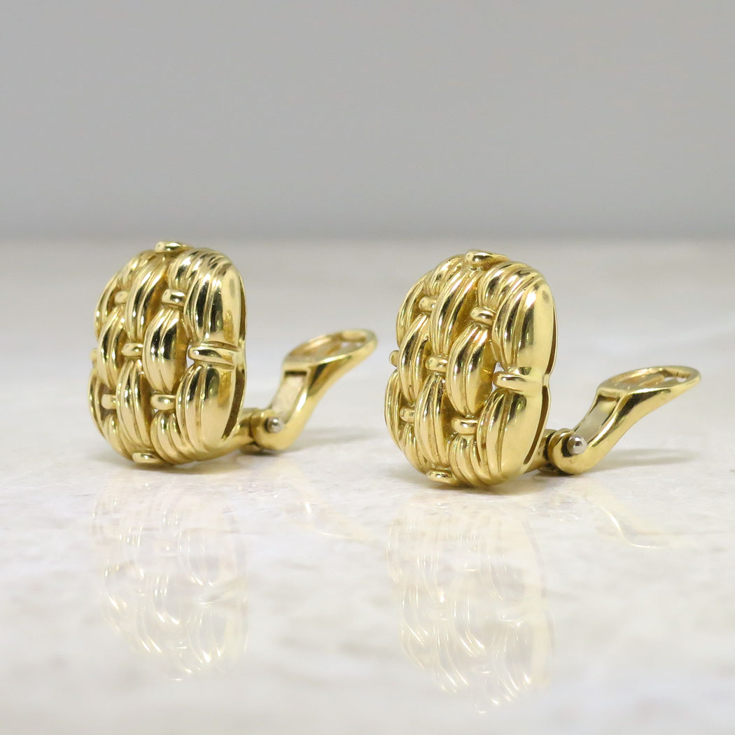 Basket Weaving Jewelry : Estate tiffany co basket weave omega back k earrings