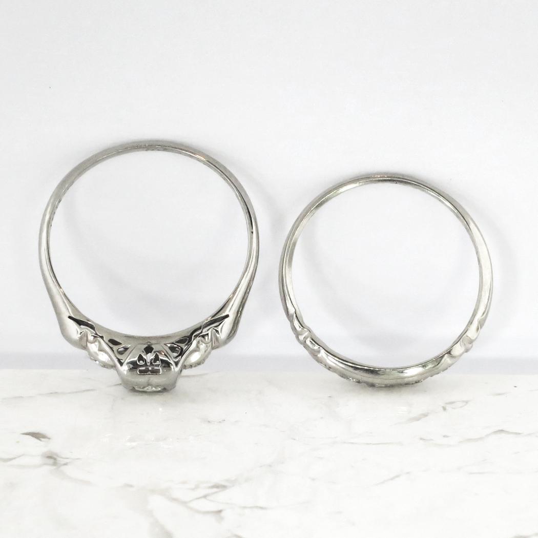 Art Deco 1930s Engagement Wedding Ring Set 11ct Tw Old European Cut Diamond 18k