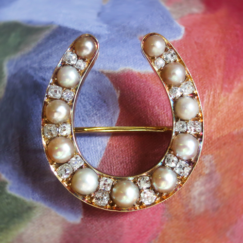 Antique Diamond and Pearl Horseshoe Brooch