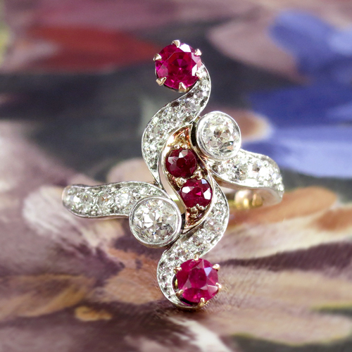 Art Nouveau Diamond and Ruby Navette Ring