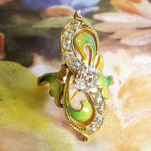 Art Nouveau Diamond and Green Enamel Ring