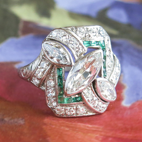 Art Deco Marquise Diamond and Emerald Ring Platinum