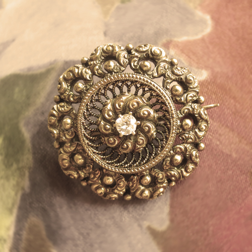 antique diamond pin sepia